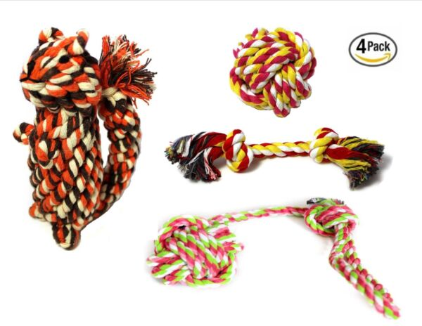 Ropeez Dog Chew Cotton Rope Toys Puppy Teething Toy Small Dogs 4 Pcs - Squirrel