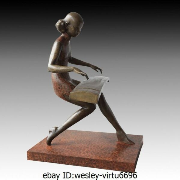 Western Bronze Art Deco Sculpture Marble Girl Lady Woman Play The Lute Pi Pa