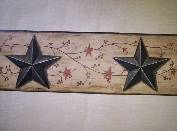 RUSTIC COUNTRY STAR AND BERRY PREPASTED WALLPAPER BORDER # BG1632BD $24.99