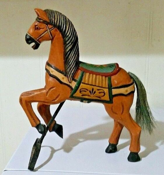 VINTAGE CARVED WOODEN HORSE FOLK ART Palomino? Hand Painted 10.5quot;X 8quot; Horse Hair