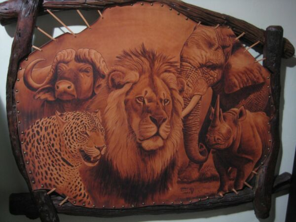 Africa's BIG FIVE by Hendrik Vrey ~ PYROGRAPHY on Leather Artwork 4' x 3'