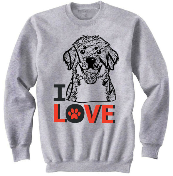 Bernese mountain dog - I love - NEW COTTON GREY SWEATSHIRT- ALL SIZES