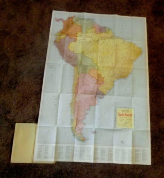 Vintage Colorful 33x27 South America Rand McNally Map Cost $1 $12.50