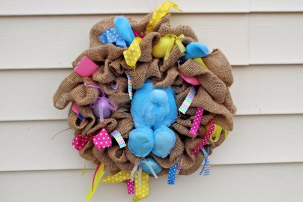Burlap Wreath Easter Spring Ribbons Home Door Decor New Handmade