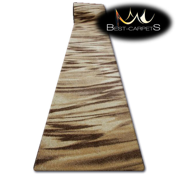 Hall Runner KARMEL ARABICA BROWN Width 70-100cm ABSTRACT extra long soft RUGS