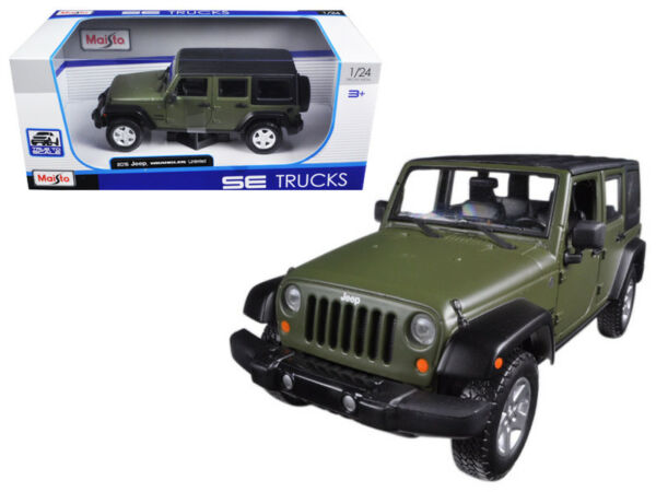 2015 Jeep Wrangler Unlimited Green 124 Scale Diecast Car Model By Maisto 31268