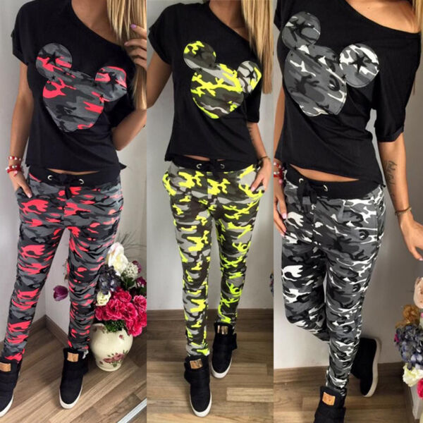 Camouflage Mickey Mouse Hausanzug Damen Sommer Gym Trainings Jogging Sport Anzug