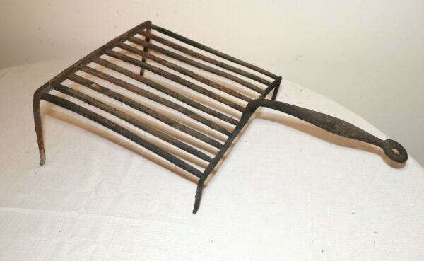 antique 18th century hand forged wrought iron primitive fireplace grill stand