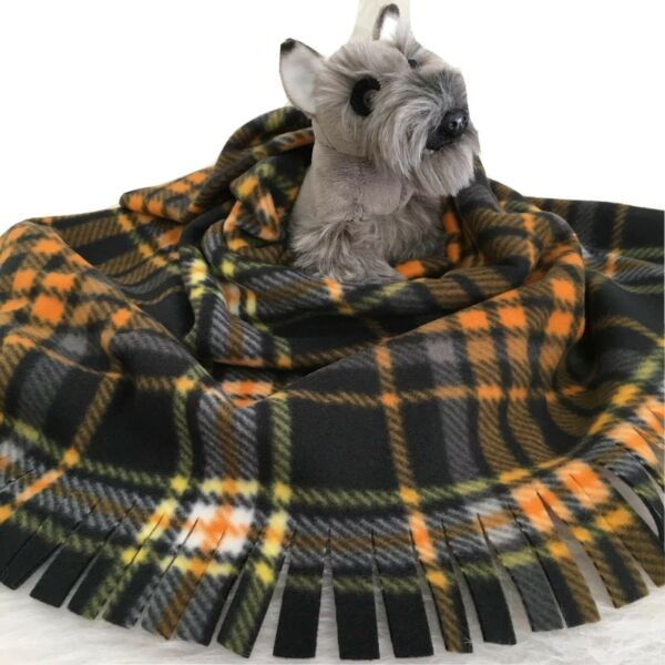 ORANGE BLACK PLAIDFuzee Fleece Dog BlanketsSoft Pet Blanket Travel Throw Cover $14.40