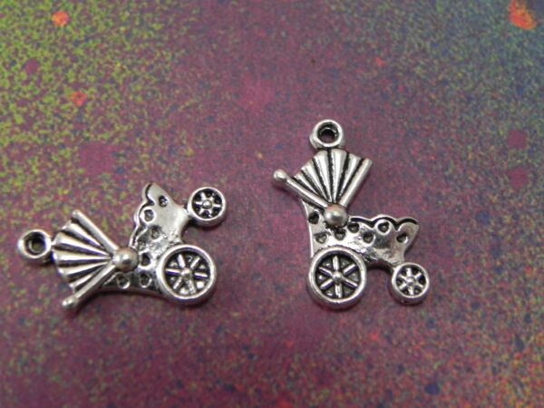 30 Stroller Baby Charms Strollers Charm Baby Shower Gift Favors Jewelry Making $14.99