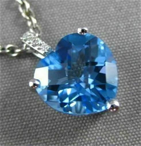 ESTATE 1.43CT DIAMOND & BLUE TOPAZ 14K WHITE GOLD FLOATING HEART HANGING PENDANT