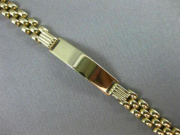ESTATE 14KT YELLOW GOLD PANTHER CHAIN ENGRAVABLE ID BRACELET 6mm WIDE #939
