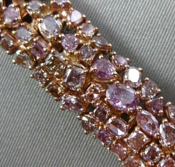 ESTATE WIDE 28.28CT FANCY MULTI COLOR DIAMOND 18K ROSE GOLD MULTI SHAPE BRACELET