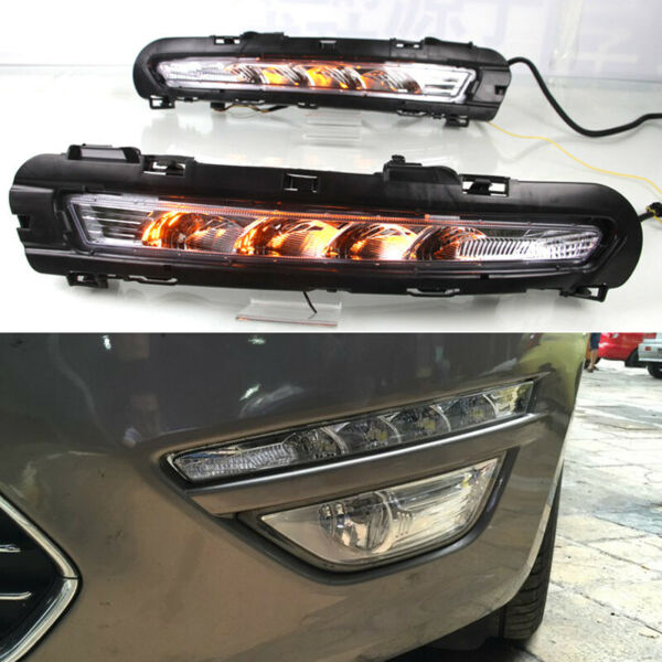LED DRL Turn Indicator Signal Daytime Running Fog lights Fit For Ford Fusion 10+