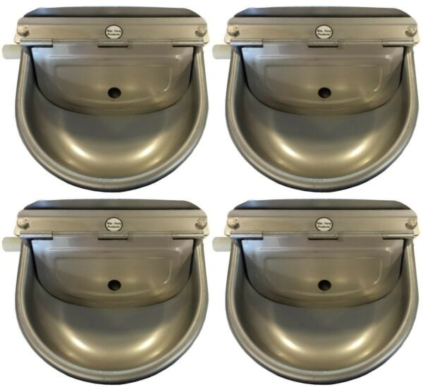 4 PACK STAINLESS STEEL AUTOMATIC STOCK WATERER LIVESTOCK HORSE CATTLE GOAT PIG