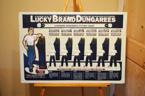 VINTAGE LUCKY BRAND DUNGAREES PANTS SHIRTS OVERALLS WORK WEAR OLD SIGN MINT