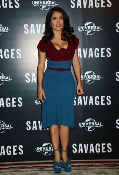 A Salma Hayek Half Blue Dress And Heels 8x10 Picture Celebrity Print