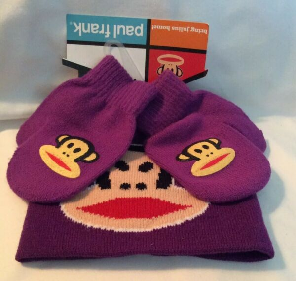Paul Frank Julius Monkey Purple Beanie Hat Mitten Gloves Set For Toddlers NEW