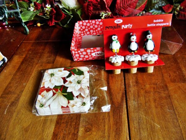 NEW CHRISTMAS 3 PENGUIN PARTY BOBBLE BOTTLE STOPPERS amp; 6 POINSETTIA COASTERS