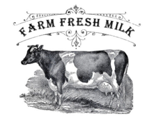 Vintage Image French Farm Fresh Milk Cow Dairy Transfers Waterslide Decal MIS665