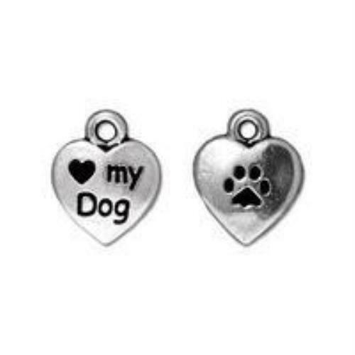 Love My Dog Charm Qty 5 Charms TierraCast Silver Plated Lead Free Pewter $5.45
