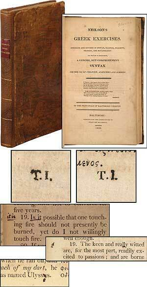 Thomas JEFFERSON  Neilson's Greek Exercise Abridged and Revised in Syntax 1st