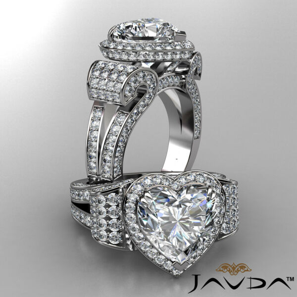 6.83ctw. Antique Vintage Circa Halo Heart Diamond Engagement Micro Pave Set Ring