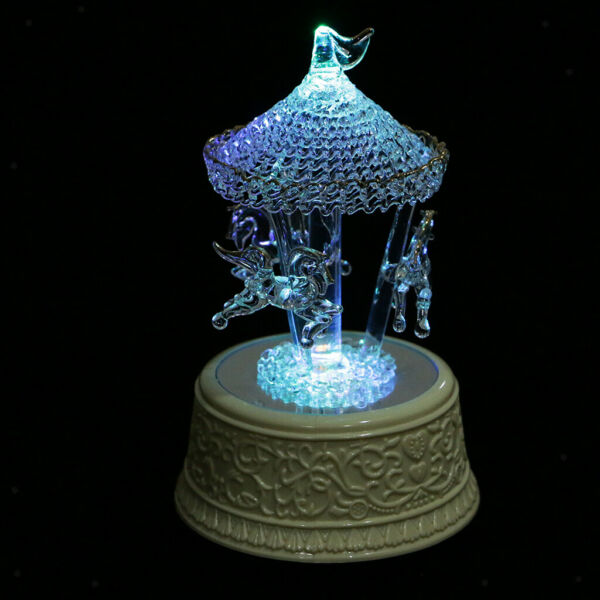 Crystal Glass Carousel Music Box w Color Changing LED Light Christmas Gift