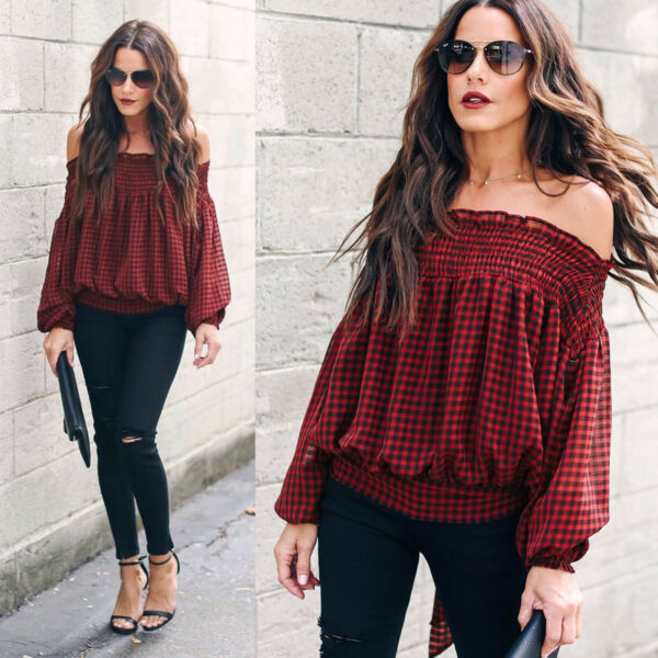 Womens Long Sleeve Off-The-Shoulder Casual Blouse Shirt Plaid Check Autumn Tops