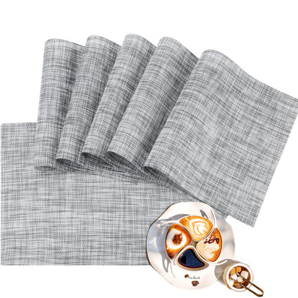 Vinyl Grey Table Mats Placemats for Kitchen Table Mats Washable PVC Set of 6