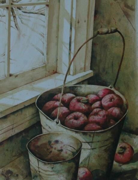 1970's Lithograph of A Pail of Apples by Nicholas Berger Pencil Signed Numbered