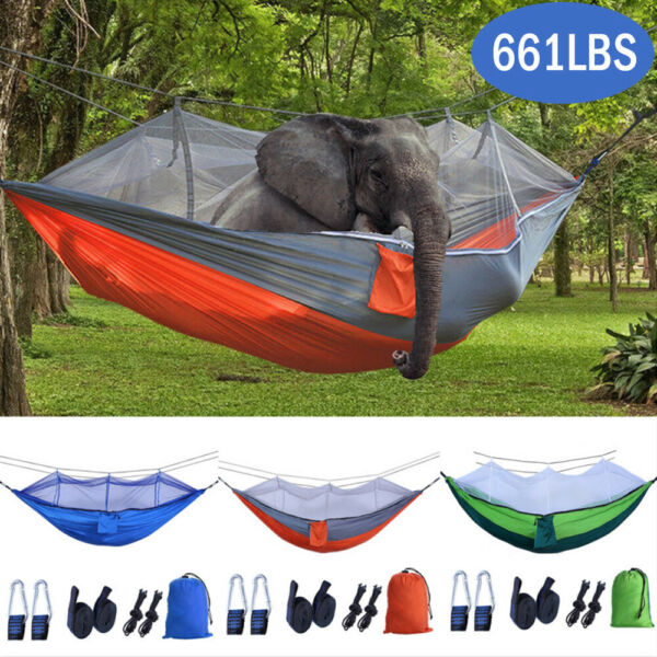 Portable Double Hammock with Mosquito Net Netting Hanging Bed Outdoor Camping US $24.29