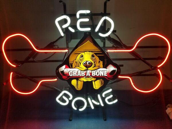 (VTG) 1995 red bone beer coon dog with bone neon light up sign pabst brewing co