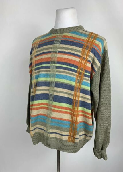 Vintage Norm Thompson Men#x27;s Size Large Cosby Biggie Coogi Style Sweater Hip Hop $32.00