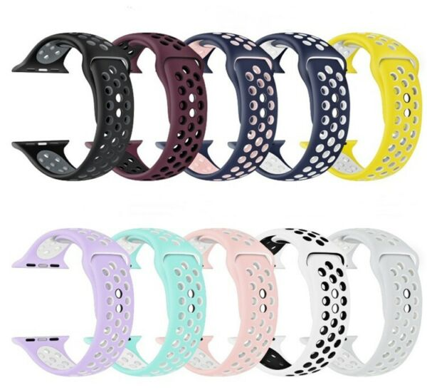 Replacement Silicone Sport Band 38mm 42mm For Nike Apple Watch Series 1 2 3 4