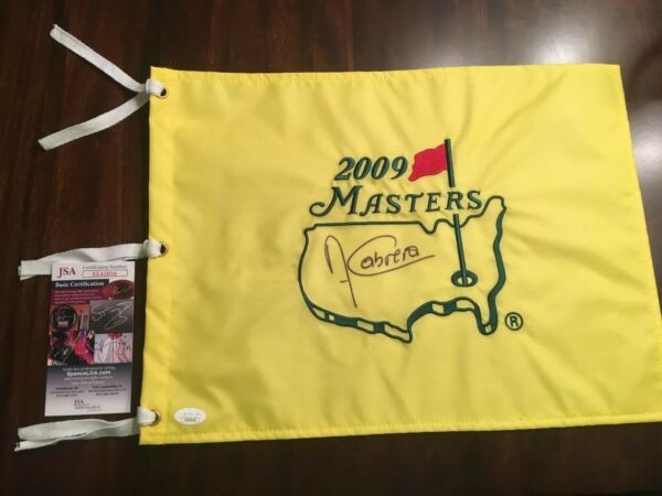 Angel Cabrera 2009 Masters Champion Signed Autographed Masters Pin Flag JSA