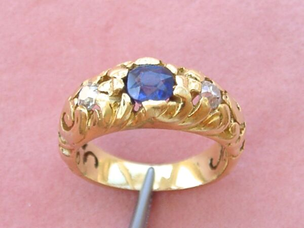 ANTIQUE ART NOUVEAU .75ct SAPPHIRE .3ctw DIAMOND 18K ENGAGEMENT UNISEX RING 1910
