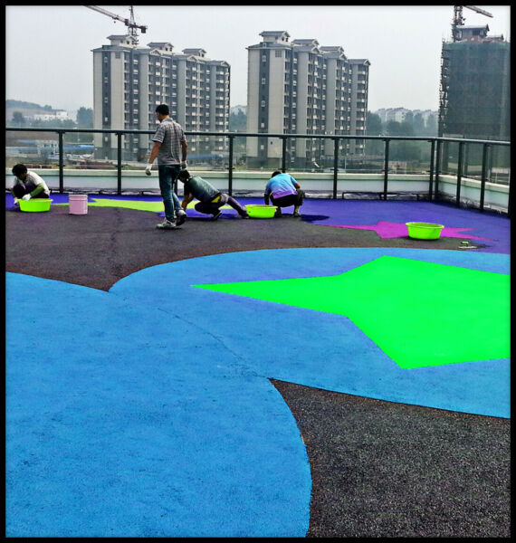 2000 sqft Installed EPDM Rubber Granules Pour In Place Surface Turnkey Package