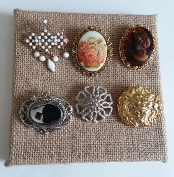 Vintage Lot of 6 Brooches Pins Plus Display Burlap Frame 6quot; x 6quot;