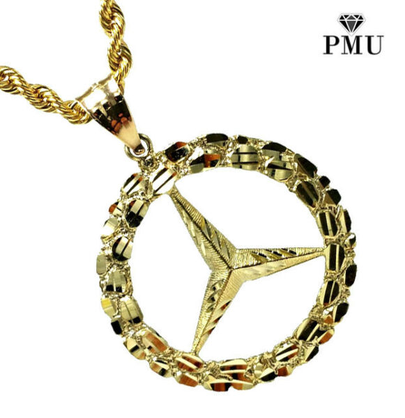 Benzo Benz Nugget 10K Yellow Gold Pendant with Rope Chain Set Fine Jewelry