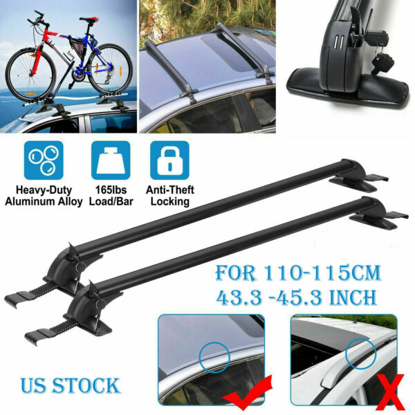 2× Universal Roof Rack Overhead Side Rails Bars Luggage Carrier Aluminium Alloy $62.21