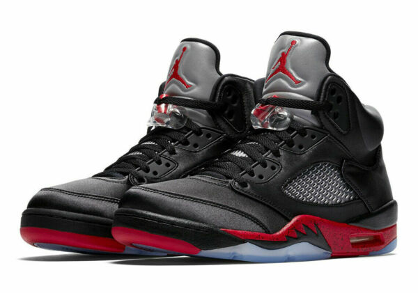 Nike Air Jordan Retro 5 Satin Black Red