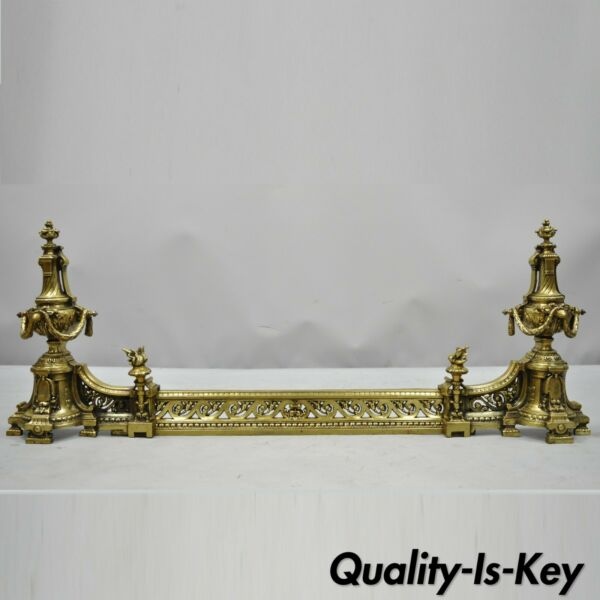 Antique French Louis XV Brass Bronze Flame Finial Andirons w Adjustable Fender