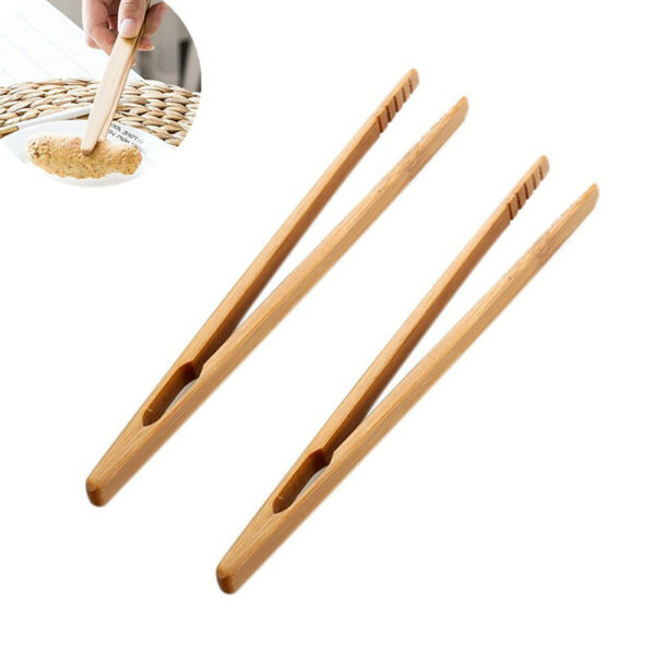 2PCS Wooden Toast Tongs Toaster Bacon Cooking BBQ Food Bread Tong Kitchen Tool