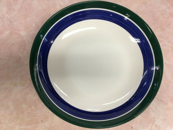 LARGE CRATE AND BARREL BLUE AND GREEN BANDED SALAD SERVING BOWL 13quot;
