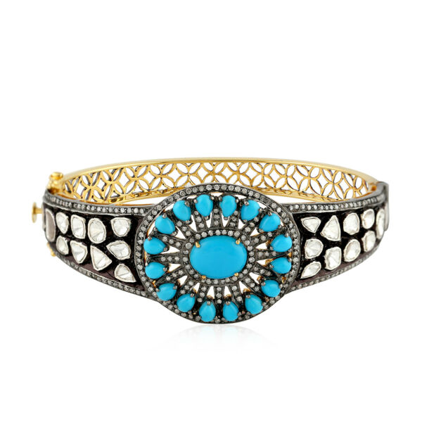 1.45ct Diamond Turquoise 18k Gold Sterling SIlver Designer Bangle Women Jewelry