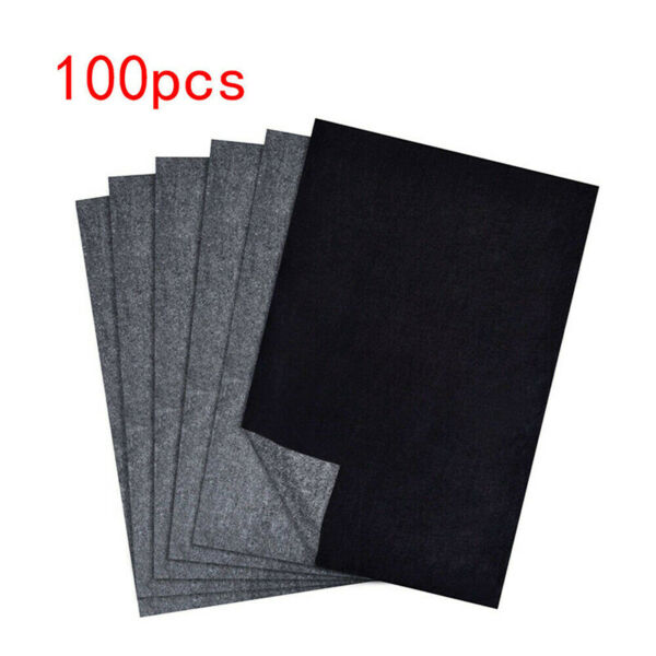 US 100Pcs Reused Carbon Transfer Graphite Paper Tracing Drawing Canvas Craft Art