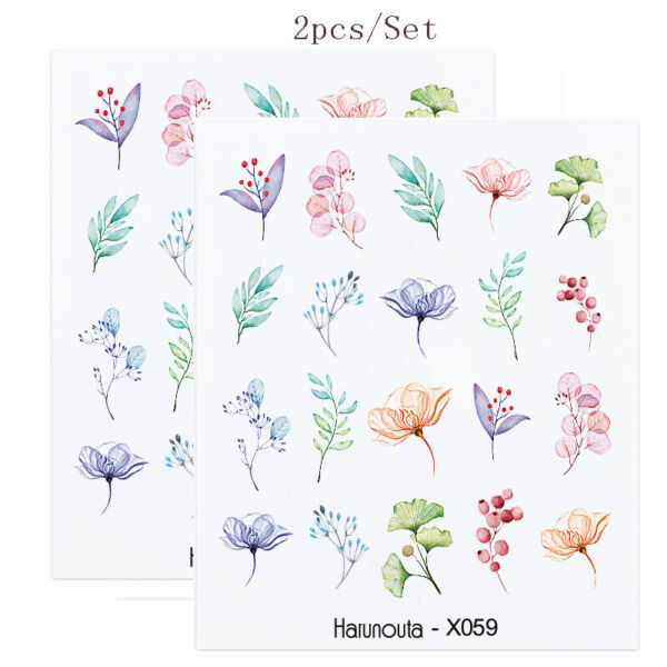 2 Sheets Nail Art Water Decals Transfer Stickers Pink Rose Flower Nails Tips DIY C $1.59