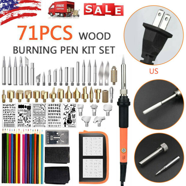 71Pcs 110V 60W Wood Burning Pen Set Stencil Soldering Tips Tools Pyrography Kit