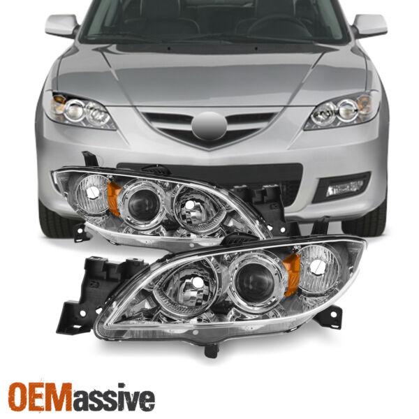 Fits 2004-2009 Mazda 3 Sedan 4Door Halogen Models Chrome Headlights LH+RH Pair